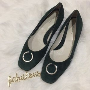 Banana Republic forest green suede flats size 11